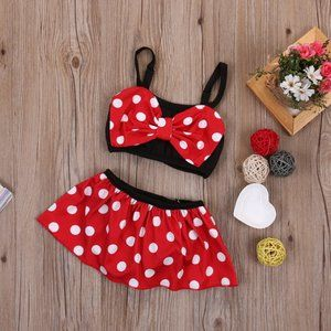Minnie Mouse girls swimsuit red polka dot